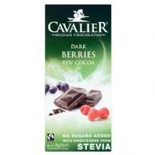 Stevia Dark Chocolate Berries Bar 85g By Cavalier